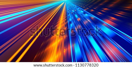 Futuristic lights. Cyberpunk background. Abstract lasers. Orange and Blue.