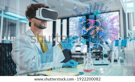 Futuristic Medical Research Laboratory: Research Scientist Wearing Virtual Reality Headset, Does Augmented Reality Research of Bacteria Genome, Using Gestures. AI Biotechnology Research in Progress