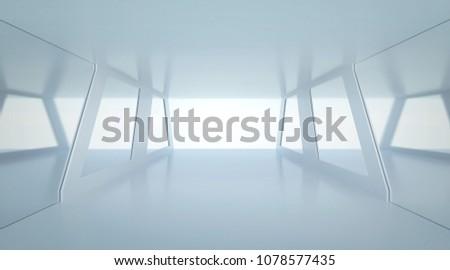 Futuristic mirror room. Modern Future background style, interior concept. 3d rendering