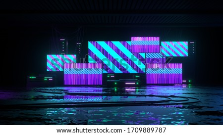 Futuristic modern background with screens, wet floor, wires and electronic devices created in the style of cyber punk. 3D rendering illustration.