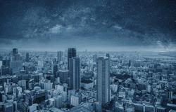 Futuristic modern cityscape at night. Smart city and technology