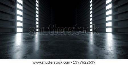 Futuristic Modern Sci Fi Concrete Hallway Corridor Tunnel Warehouse Underground Garage Grunge Dark Empty Reflection Showcase Stage White Blue Glow Spaceship 3D Rendering Illustration
