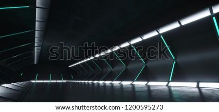Futuristic Modern Sci Fi Dark Empty Spaceship Tunnel Corridor Room With Blue White Glowing Lights And Reflections Technology Concept 3D Rendering Background Illustration