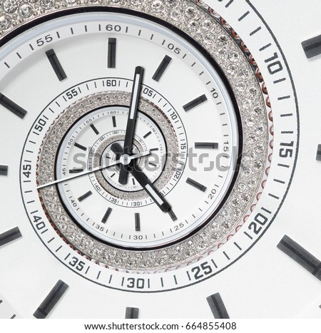 Futuristic modern strass diamond white clock watch abstract fractal surreal spiral. Watch clock unusual abstract texture pattern fractal background. Modern stylish fractal clock dial abstract watch