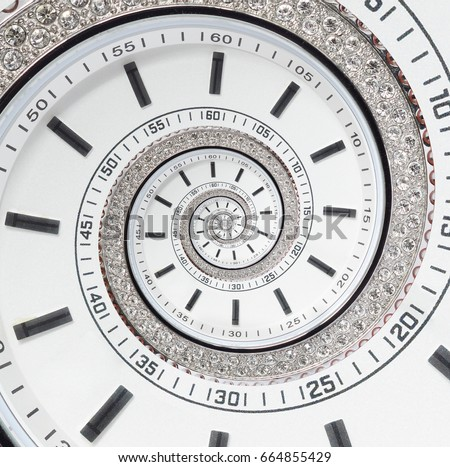 Futuristic modern white clock watch abstract fractal surreal spiral. Watch clock unusual abstract texture pattern fractal background. Modern stylish abstract fractal spiral clock watch helix