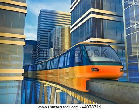Futuristic monorail train among the skyscrapers. Made in 3D. - stock photo