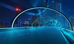Futuristic neon light and glass facade design of tunnel flyover road with night cityscape background . Mixed media .