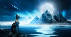 Futuristic night landscape with abstract landscape and island, moonlight. Dark natural scene with reflection of light in the water, neon blue light. Pyramids are an ancient fantasy world. Egyptian cat