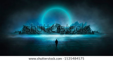 Futuristic night landscape with abstract landscape and island, moonlight, shine. Dark natural scene with reflection of light in the water, neon blue light. Dark neon circle background. Foto stock ©