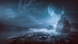Futuristic night post apocalyptic scenario with abstract alien landscape and moonlight glow in neon blue light.