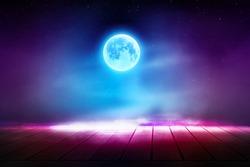 Futuristic night scene. Gloomy dark scene with wooden floor, big moon, moonlight. Smoke, shadow. Abstract dark, cold street background. Night view.