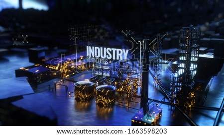 Futuristic power plant created in 3D, 3D artwork, 3D rendering, 3D illustration showcasing a factory that is forward thinking and looking to the future demonstrating how fossil fuels are evolving