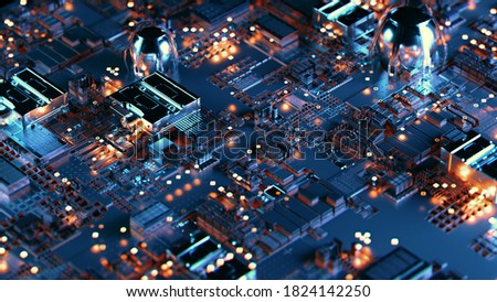 Futuristic printed circuit board with electronic chip components wallpaper. Technology abstract background 3D illustration Сток-фото ©