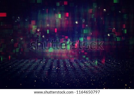 Futuristic retro background of the 80`s retro style. Digital or Cyber Surface. neon lights and geometric pattern #1164650797