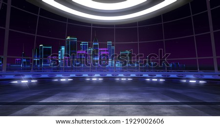 Futuristic, retro wave, Virtual set backdrop. Ideal for tv shows, presentations or events. A 3D rendering, suitable on VR tracking system sets, with green screen Foto stock ©