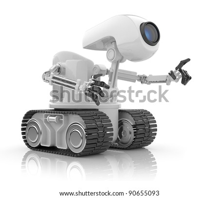 Futuristic robot talk.  Artificial intelligence concept. 3D isolated on white. - stock photo