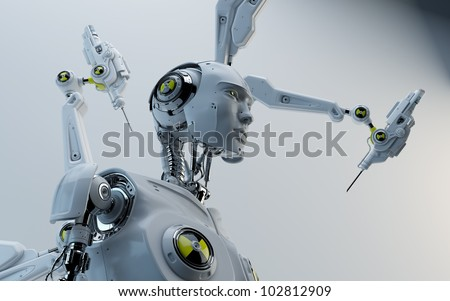 Futuristic robot with danger signs assembling by robotic instrument / Stylish robot assemble
