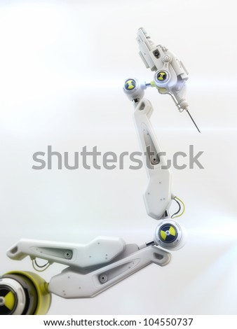 Futuristic robotic instrument with steel needle on the edge