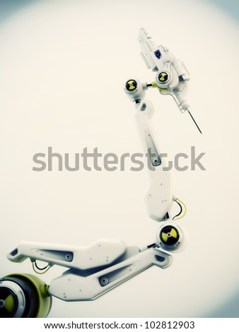 Futuristic robotic instrument with steel needle on the edge / Robot hand with test sign