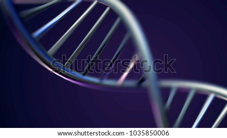 Futuristic Rotating White DNA Strand with Genetic Codes and abstract geometry. Seamless looping animation of rotating DNA strands. Animation rotation of model DNA spiral from glass and crystal, or