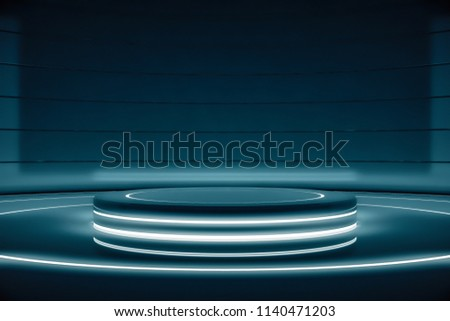 Futuristic round pedestal or platform for display. Blank product poduim or stand. Future empty stage with glow light. Future background for design technology Sci-fi interior concept. 3d rendering