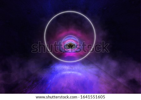 Futuristic  Round Portals, Neon 3D Glow Lights with Fluorescence and Smoke in the Grunge Tunnel, 3D Rendering Background, Underground Interior, Conceptual Cosmic Tomorrow Aesthetic Interior Style.