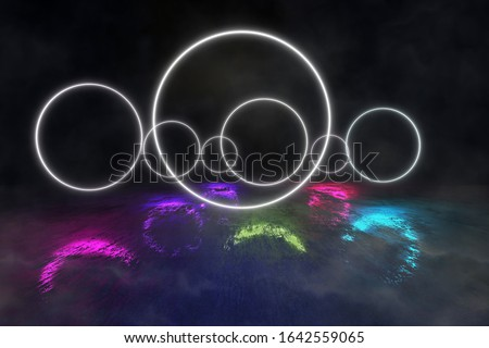 Futuristic  Round Portals, Neon 3D Glow Lights with Fluorescence and Smoke on the Grunge Floor, 3D Rendering Background, Underground Design, Conceptual Cosmic Tomorrow Aesthetic Style.