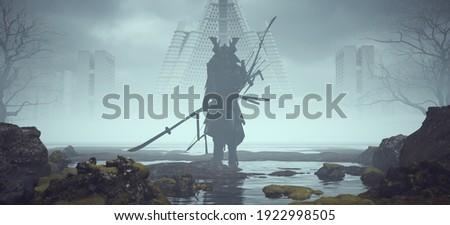 Futuristic Samurai Large in a Landscape near Foggy Abandoned Brutalist Style Architecture 3d illustration render