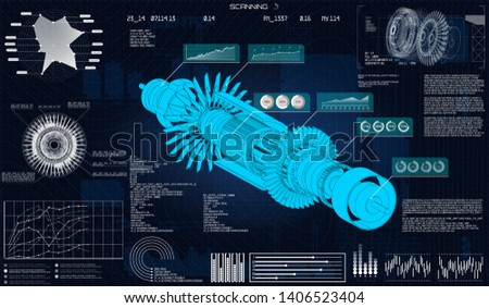 Futuristic scanning hud style. Isometric turbine and data analysis. Futuristic user interface. Hi tech technology