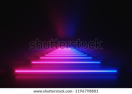Futuristic Sci-Fi Abstract Blue And Purple Neon Light Shapes On Black Background With Empty Space For Text 3D Rendering Illustration