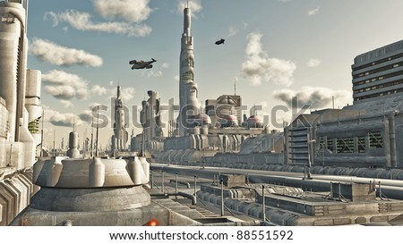 Futuristic sci-fi city street view, 3d digitally rendered illustration - stock photo