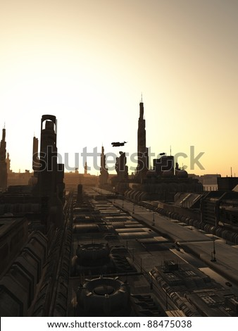 Futuristic sci-fi city streets at sunrise, 3d digitally rendered illustration