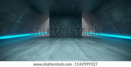 Futuristic Sci Fi Concrete Long Triangle Shaped Tunnel With Blue  Glowing Neon Line Signs Inside Empty Space 3D Rendering Illustration