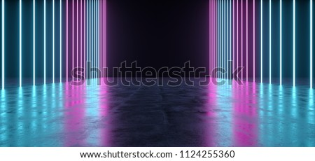 Futuristic Sci-FI Concrete Refelctive Room With Neon Lighted Lights With Empty Space 3D Rendering Illustration