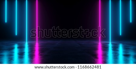 Futuristic Sci Fi Dark Empty Room With Blue And Purple Neon Glowing Line Tubes On Grunge Concrete Floor With Reflections 3D Rendering Illustration