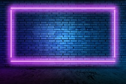 Futuristic Sci Fi Elegant Modern Neon Glowing Rectangle Frame Shaped Lines Tubes Purple Pink Blue Colored Lights In Dark Empty Grunge Concrete Brick Room