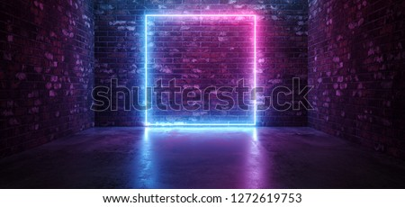 Futuristic Sci Fi Elegant Modern Neon Glowing Rectangle Frame Shaped Lines Tubes Purple Pink Blue Colored Lights In Dark Empty Grunge Concrete Brick Room Background 3D Rendering Illustration