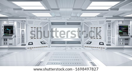 Futuristic Sci-Fi Hallway Interior with  Computer and Monitor Screen on Wall, 3D Rendering Foto stock ©