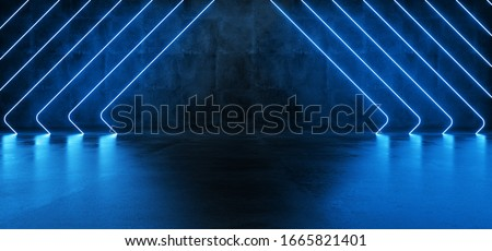 Futuristic Sci Fi Modern Elegant Alien Dark Grunge Concrete Room With Classic Pantone Blue Glowing Triangle Shaped Neon Tubes Reflection Background 3D Rendering Illustration