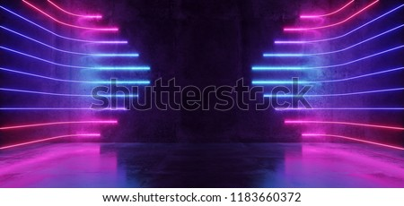 Futuristic Sci-Fi Modern Empty Stage Reflective Concrete Room With Purple And Blue Glowing Neon Tubes Shape Empty Space Wallpaper Background 3D Rendering Illustration