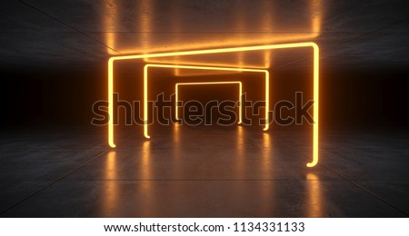 Futuristic Sci Fi Orange  Neon Tube Lights Glowing In Concrete Floor Room With Reflections Empty Space 3D Rendering Illustration
