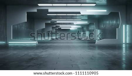 Futuristic Sci-Fi Space Ship Corridor With Led Lights And Conrete Hexagon Floor.3d Rendering Illustration