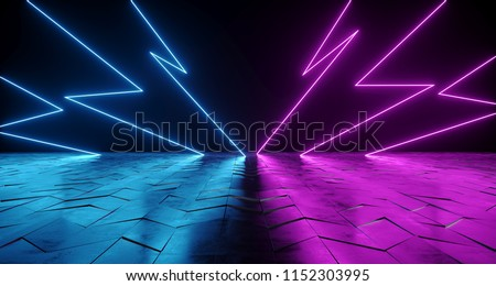 Futuristic Sci-Fi Thunderbolt Shaped Neon Tube Vibrant Purple And Blue Glowing Lights On Reflective Tilted Rough Concrete Surface In Dark Room Empty Space 3D Rendering Illustration