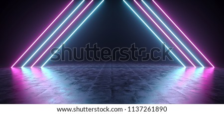 Futuristic Sci Fi Triangle Shaped Purple And Blue Neon Glowing Lights In Empty Dark Room With Concrete Floor WIth Reflections 3D Rendering Illustration