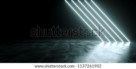 Futuristic Sci Fi White Neon Glowing Line Lights In Empty Dark Room With Concrete Floor WIth Reflections And Empty Space For Text 3D Rendering Illustration