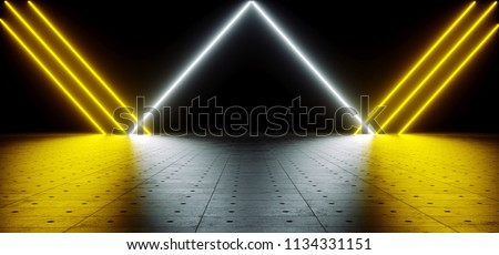 Futuristic Sci Fi Yellow And White Neon Tube Lights Glowing In Concrete Floor Room With Reflections Empty Space 3D Rendering Illustration