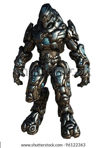 Futuristic science fiction battle droid, 3d digitally rendered illustration