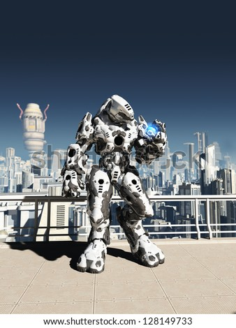Futuristic science fiction battle droid guarding the streets of a futuristic city, 3d digitally rendered illustration