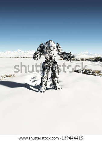 Futuristic science fiction battle droid on patrol on a snow covered winter planet, 3d digitally rendered illustration