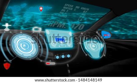 Futuristic screen dashboard graphic user interface(GUI)digital hologram,virtual screen system HUD(Head Up Display)of futuristic vehicle smart car cockpit,with self driving mode autonomous control #1484148149